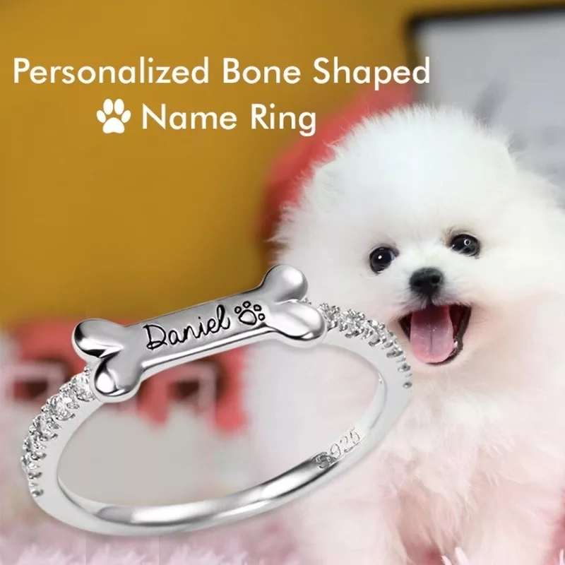 XiaoJing 925 Sterling Silver Custom Dog Claw Bone Engraved Name Ring Custom Stacking Rings Gift For Women Personalized Jewelry