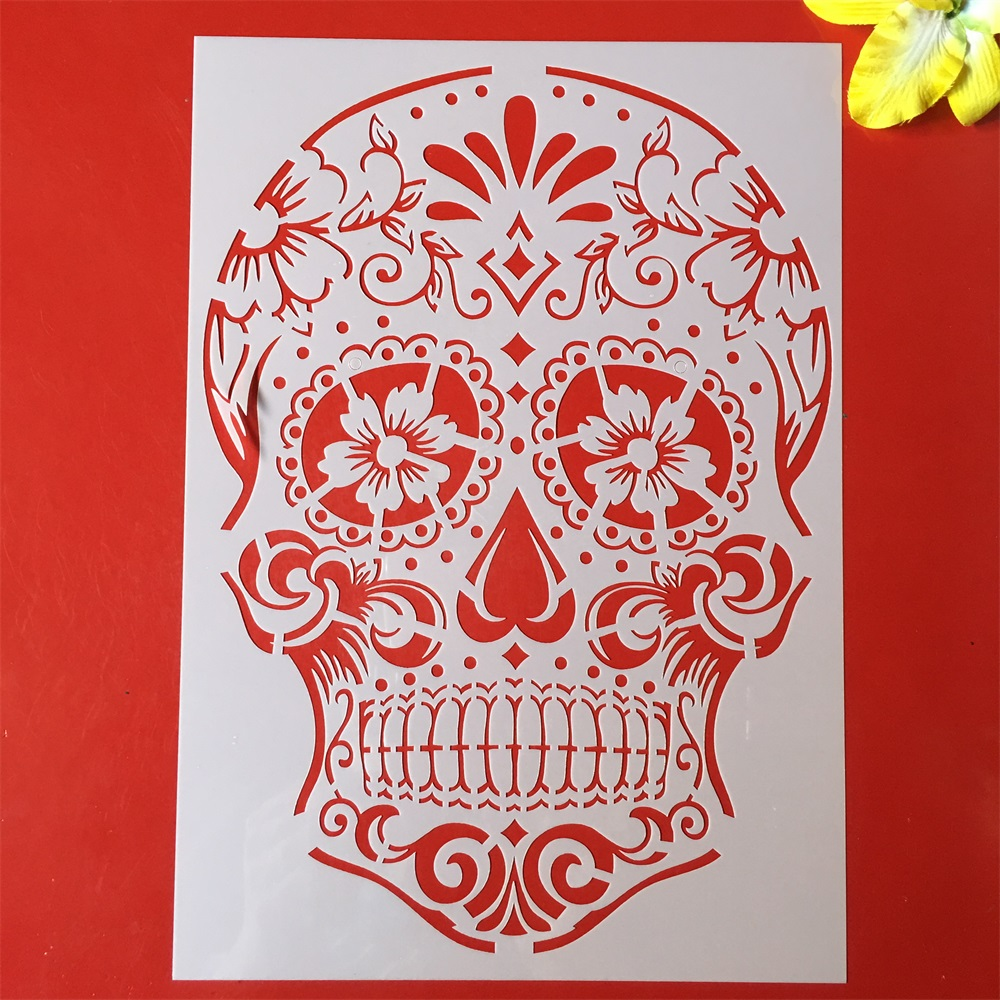 1Pcs A4 29cm Skeleton Skull DIY Layering Stencils Wall Painting Scrapbook Coloring Embossing Album Decorative Template