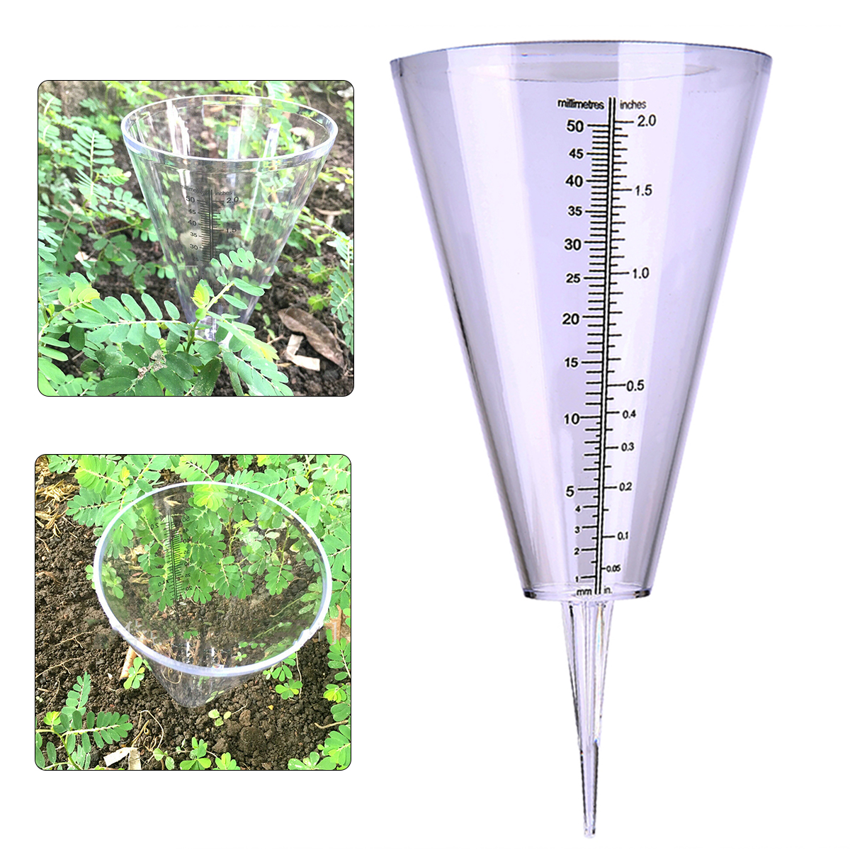 Cone Rain Gauge Measurement Ground Spike Precipitation Garden Yard Rainfall Measuring Tools