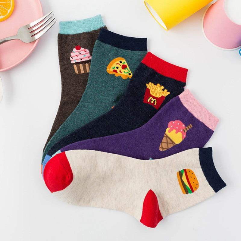 2019 New Japanese Harajuku Cartoon Food Burger Kawaii Socks Women Cotton  Sweet Wear Funny Socks For Ladies 390