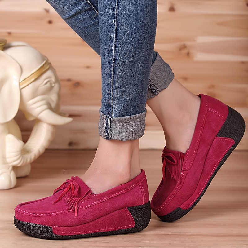 2019 herbst Frauen Wohnungen Schuhe Quaste Fringe Plattform Schuhe Leder Wildleder Casual Schuhe Slip Auf Wohnungen Schuhe Creepers