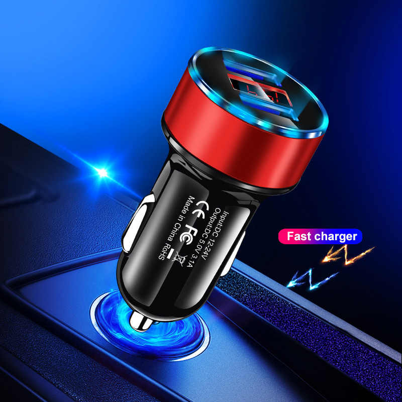 Romichw 3.1A Dual Usb Mobil Charger LED Display Universal Mobile Phone Car-Charger untuk Iphone 6 6 S X xr Samsung Xiaomi Tablet