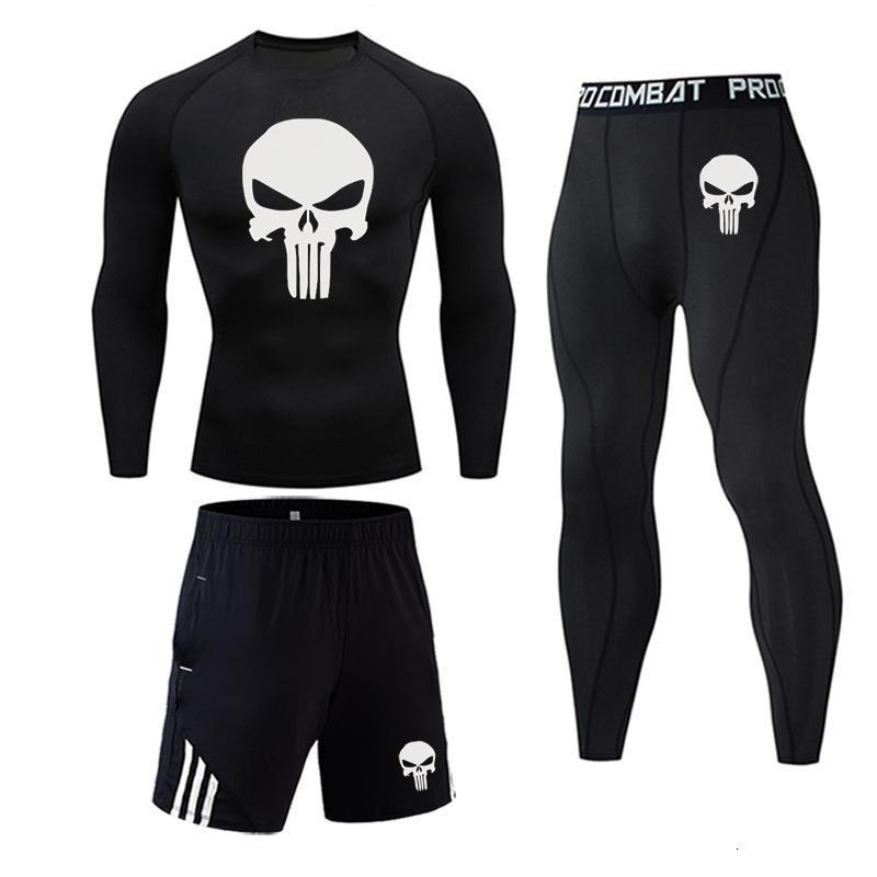 Men's Sportswear Gym T Shirt Thermal Compression Tights Shirt Sport Pants Leggings Thermal Underwear MMA Punisher Skull