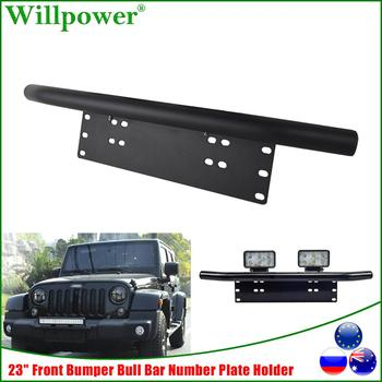 цена на 23 Front Bumper Bullbar Number Plate Holder For Jeep Wrangler JK Offroad SUV LED Work Light Bar Fog Spotlight Mount Bracket