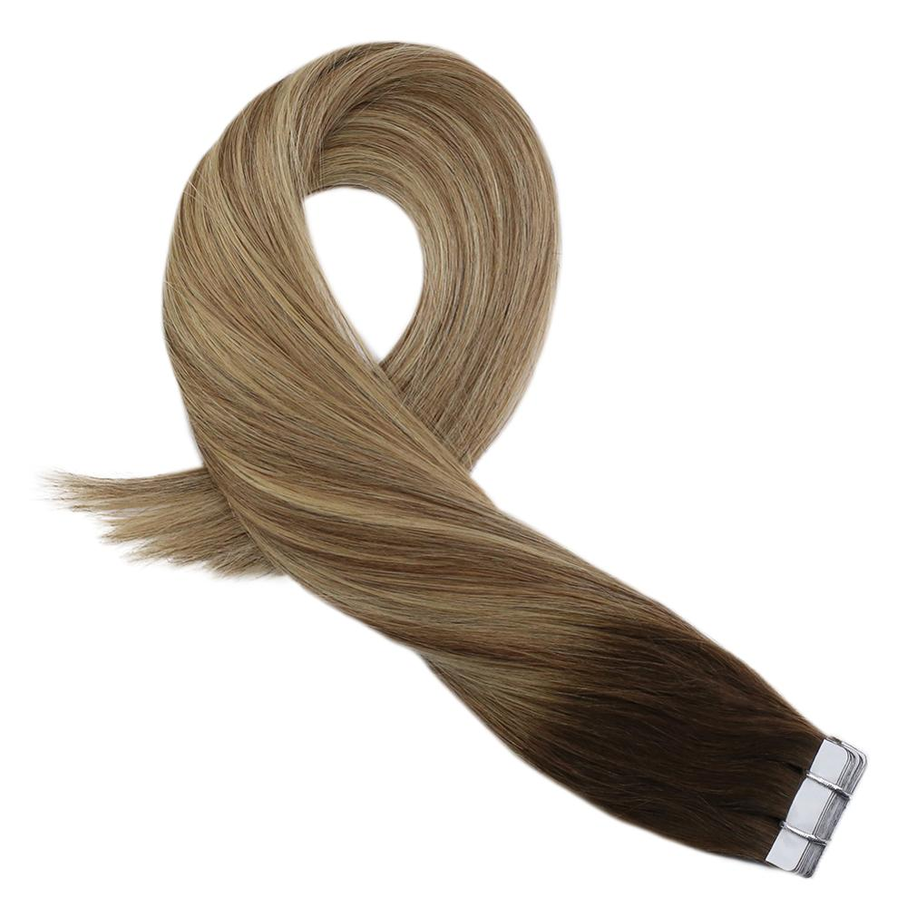 Moresoo Hair Extension Tape In Human Hair Real Brazilian Machine Remy Hair Brown And Blonde Ombre Balayage Hair Color 20PCS