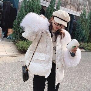 Image 5 - MISHOW 2019 zima kobiety 90% puch kaczy biała gruba powłoka mody kobiet futro z kapturem kołnierz krótki gruba puchowa kurtka MX19D8869