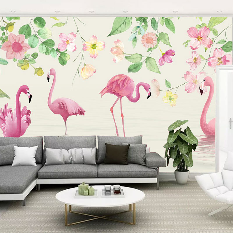 3D Hand-Painted Flamingo Wallpaper Northern European-Style GIRL'S Heart Bedroom Wall Wallpaper Living Room Television Background