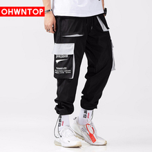 Hip Cargo Pants Streetwear Men Harajuku Harem Joggers Casual Pant Multi Pockets Hit color Patchwork Trousers Sweatpant