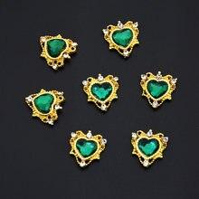 10 шт 3d сплав стразы для дизайна ногтей сердце/ромб Кристальные