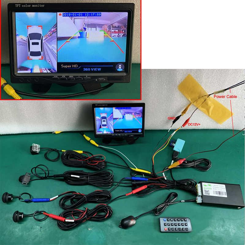 GreenYi 1080P 2D 360 درجة مشاهدة الطيور بانوراما نظام مع 4 كاميرات الدوائر التلفزيونية المغلقة ، مواقف السيارات المحيطي الرؤية مسجل فيديو DVR مراقبة