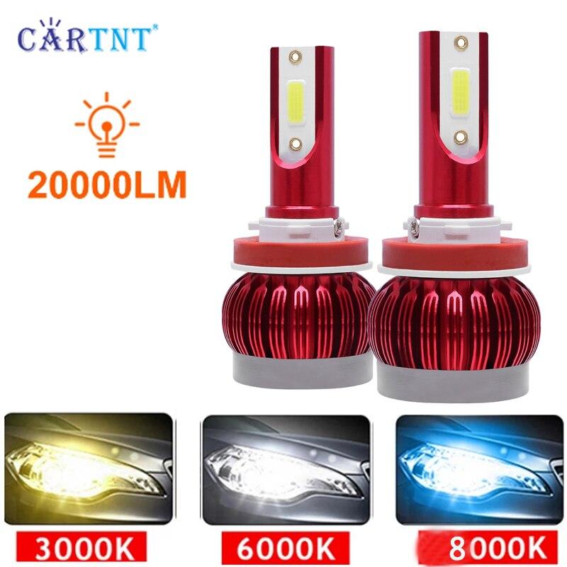 2 шт. светодиодный 20000LM автомобильные лампы для передних фар H7 H8 H9 H11 H1 H3 H4 9012 светодиодный лампы 9005 HB3 9006 HB4 6000K 3000K 12V автомобиль Lightsjavascript: