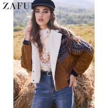ZAFUL Women Corduroy Jacket Coats Winter Thick Warm Outwear Double Breasted Trib