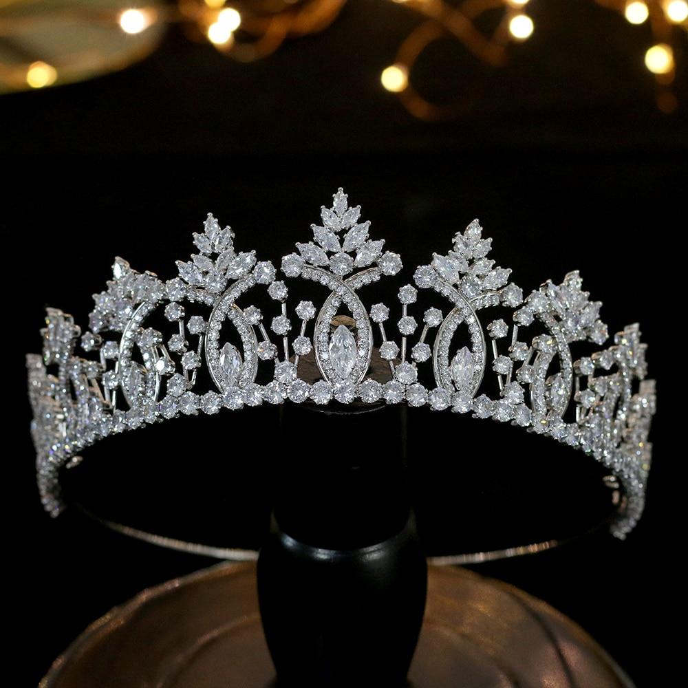 Image 2 - Винтажная тиара в стиле барокко с кристаллами, свадебные аксессуары для волос, Высококачественная свадебная корона из циркония, свадебные аксессуары для сопряжения-in Украшения для волос from Украшения и аксессуары
