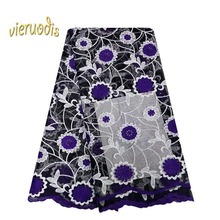 2019 5 Yard  African Stones Net Lace Spot New Cloth with Diamond Embroidery