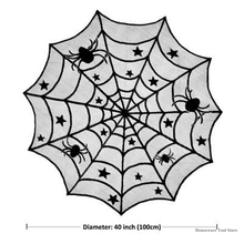 Halloween Tablecloth Spiderweb Table Topper Cloth Fireplace
