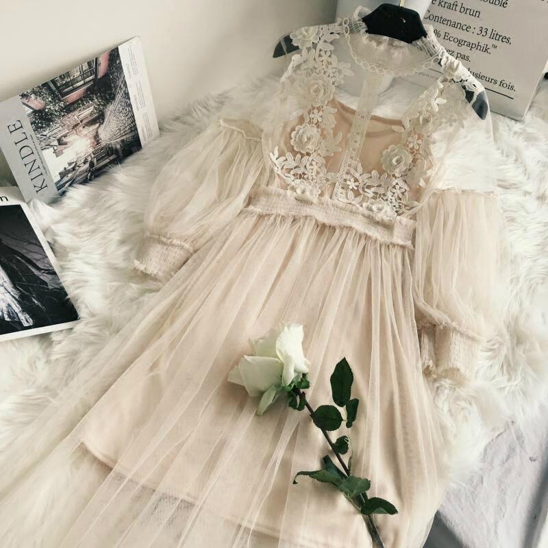 New Arrivals Women Lace Flower Dress Gauze Lantern Sleeve Voile Long Dress Female Retro Hook Princess Dress 2 Piece Set