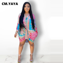 CM.YAYA Women Mini Dress Print Turn-down Collar Single Breasted Full Sleeve Shirring Straight Dresses Office Lady Streetwear