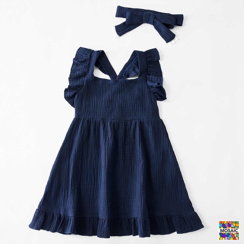 แม่เด็กCasualปุ่มชุดSolid Momครอบครัวเด็กเสื้อผ้าชุดผ้าฝ้ายชุดจับคู่เด็กน่ารักRomperฤดูร้อนชุด