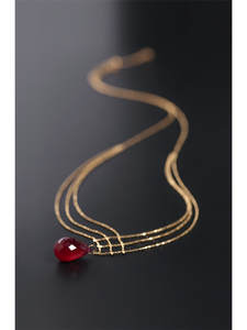 Ruby Necklace Pendant Gold-Color Natural DAIMI Gemstones 18K Gift of Particles Treasure