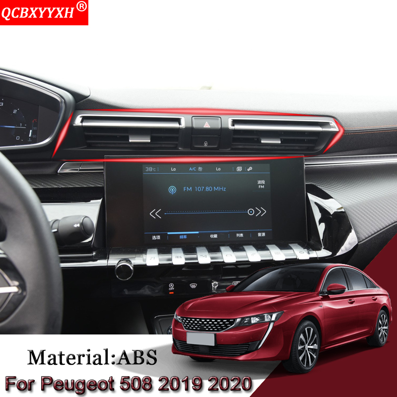 Car Styling ABS For Peugeot 508 2019-Present Air Conditional Panel Sequins Double Flash Button Frame Internal Car Stickers