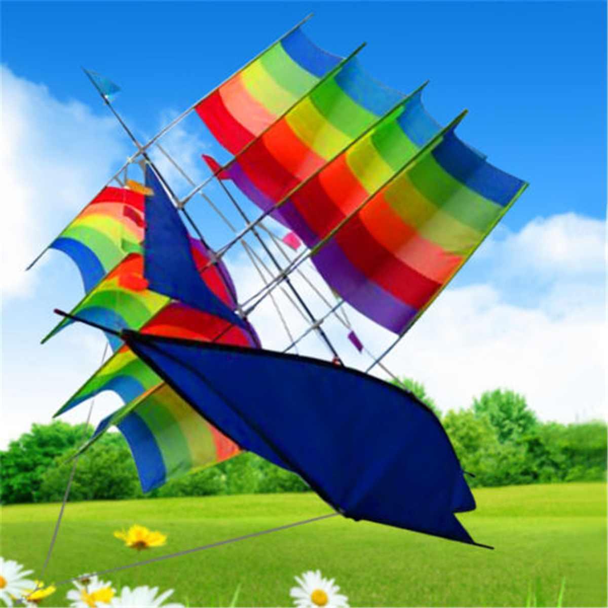 Chaud grand 3D arc-en-ciel voilier volant cerf-volant en plein air amusant sport jouets enfants enfants jeu activité coloré bateau cerfs-volants enfants cadeaux