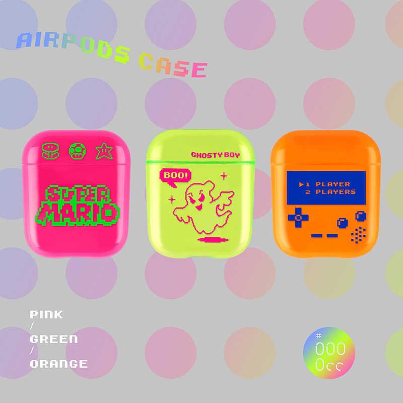 형광 색상 오렌지 플라스틱 만화 게임 무선 충전 이어폰 하드 케이스 Airpods 1 2 액세서리 블루투스 커버