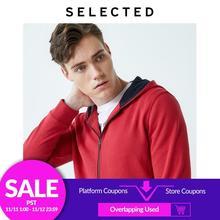 Geselecteerd Mannen 100% Katoen Rode Hooded Zip Through Sweatshirt Ik