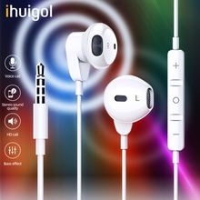 ihuigol In-Ear 3.5mm Jack Earphone For iPhone 6 5 Xiaomi Huawei MP3 Player Wired Control HandsFree HIFI Headsets With Microphone accezz 3 5mm jack in ear earphone for iphone 5 6 ipad xiaomi samsung universal hifi sport earbuds wired control with microphone