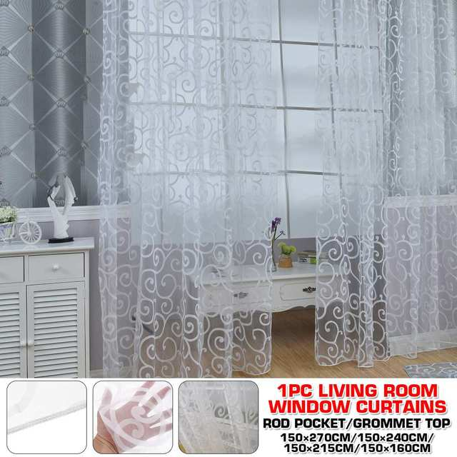 White Tulle Curtains for the Living Room Modern Sheer Curtain for Bedroom Kitchen Window 1