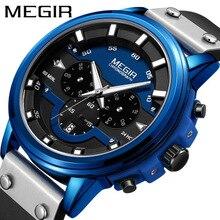 2019Mens Sports Watches Hot Sale Men Leather Strap Quartz Chronograph Watch Waterproof Shockproof Electronic Wristwatch
