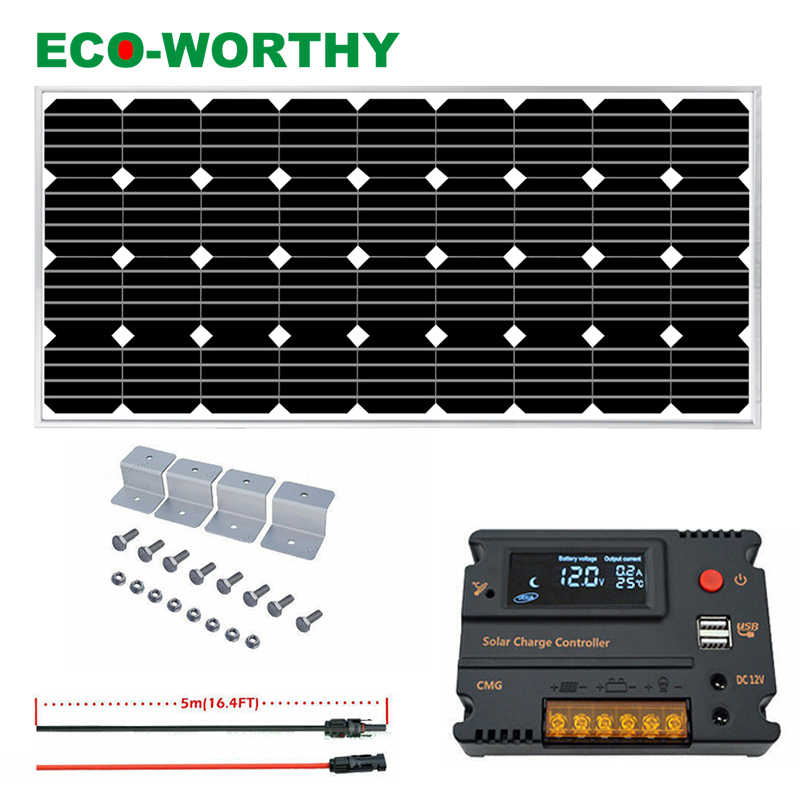 ECOWORTHY Off Grid 100W Solar System 100W Solar Panel Charging 12V Home Camping RV Power LCD USB Charging Controller Camping