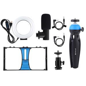 Image 5 - PULUZ 4 in 1 Vlogging Live Broadcast Smartphone Video Rig +4.6 inch LED Selfie Ring Light & Microphone +Tripod Mount+Tripod Head