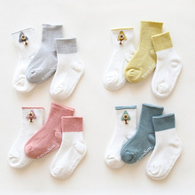3PCS baby socks 0-1-3Y Anti-slip sole button decoration three-color suit childrens newborn Baby clothes accessories