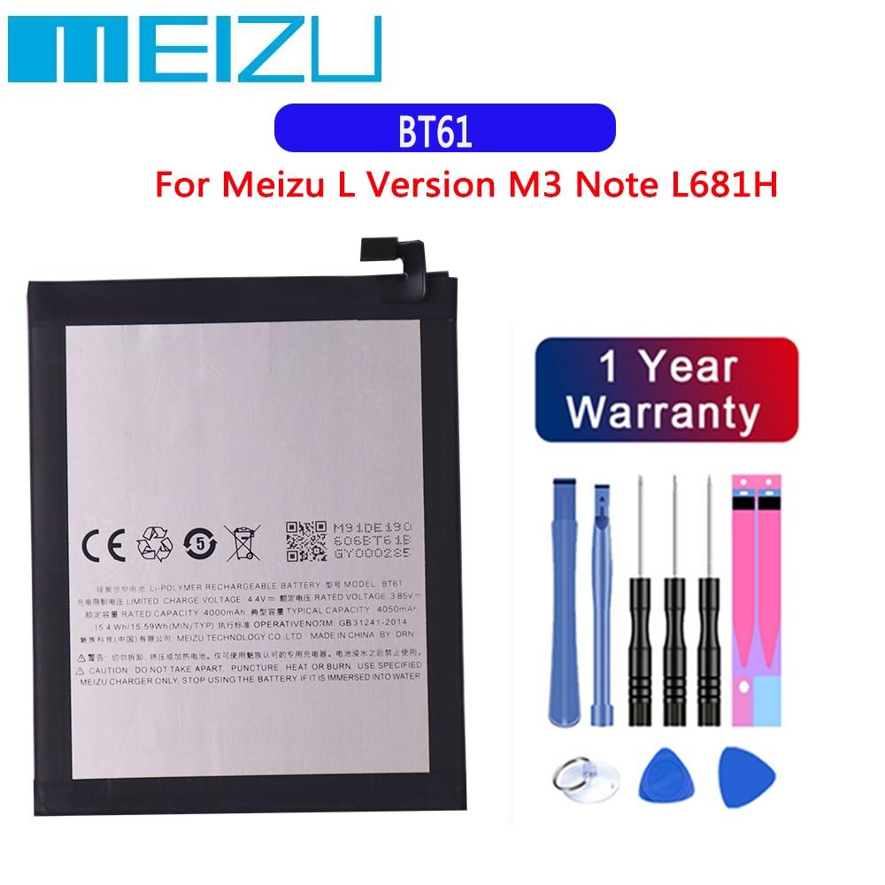 Original Replacement Battery 3.85V 4000mAh BT61 For Meizu L Version M3 Note L681H Battery