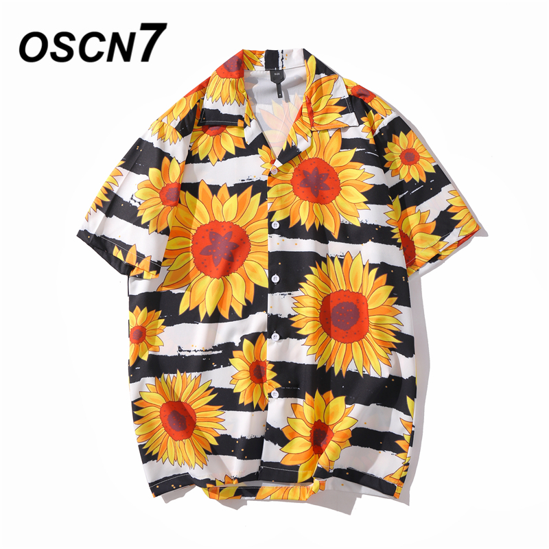 OSCN7 Casual Printed Short Sleeve Shirt Men Street 2020 Hawaii Beach Oversize Women Fashion Harujuku Shirts For Men XQ76