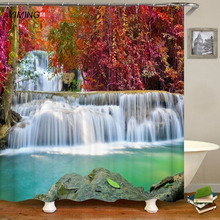 цена на 3D forest waterfall printed bathroom shower curtain bathroom waterproof curtain blackout bathroom shower curtain can be washed