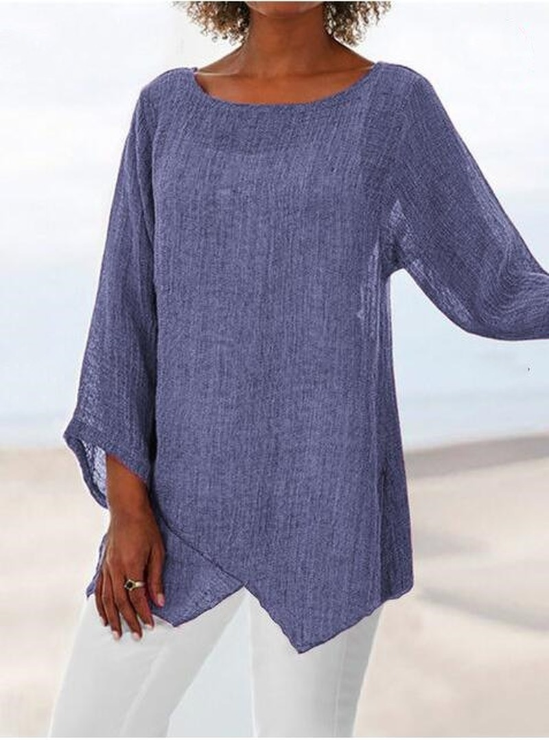 Camiseta informal con cuello redondo para mujer, remera holgada con dobladillo Irregular 5XL de talla grande Vintage 2021