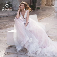 Romantic A Line Wedding Dress Swanskirt N129 Vintage Appliques Flowers Court Train Tulle Princess Bridal Gown vestido de noiva