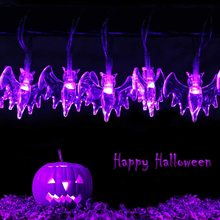 Solar-String-Lights Outdoor-Decorations Christmas-Party Halloween Bat 3D for 10/20/30led-fairy