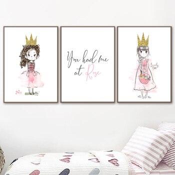 Arte de pared Estilo nórdico pintura cuadros acuarela princesa Rosa corona dorada pósteres e impresiones chica para niñas decoración de la habitación de los niños