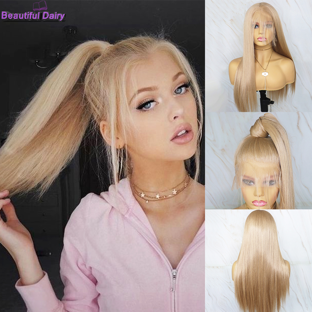 Beautiful Diary Futura Hair Full Lace Synthetic Wigs Blonde Straight  Wigs  Pre Plucked Hairline Glueless Full Lace Wig