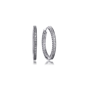 Image 3 - Otantik 925 ayar gümüş kalpler of imza Hoop küpe temizle CZ ile 27 mm küpe kadınlar kızlar için hediye brincos