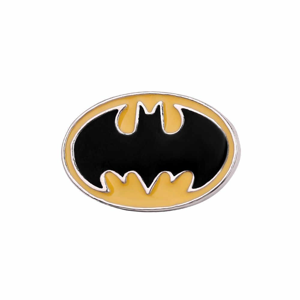 DC Universe Superheld Batman Logo Emaille Pins Vleermuis Vorm Ellips Revers Pin Justice League Serie Hoed Rugzak Kleding Accessoires