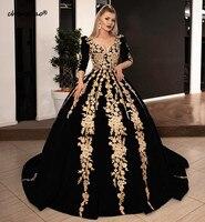Long Evening Dresses 2019 Gorgeous Ball Gown 34 Long Sleeve V neck Arabic Gold Lace Velvet Black Women Formal Evening Gowns