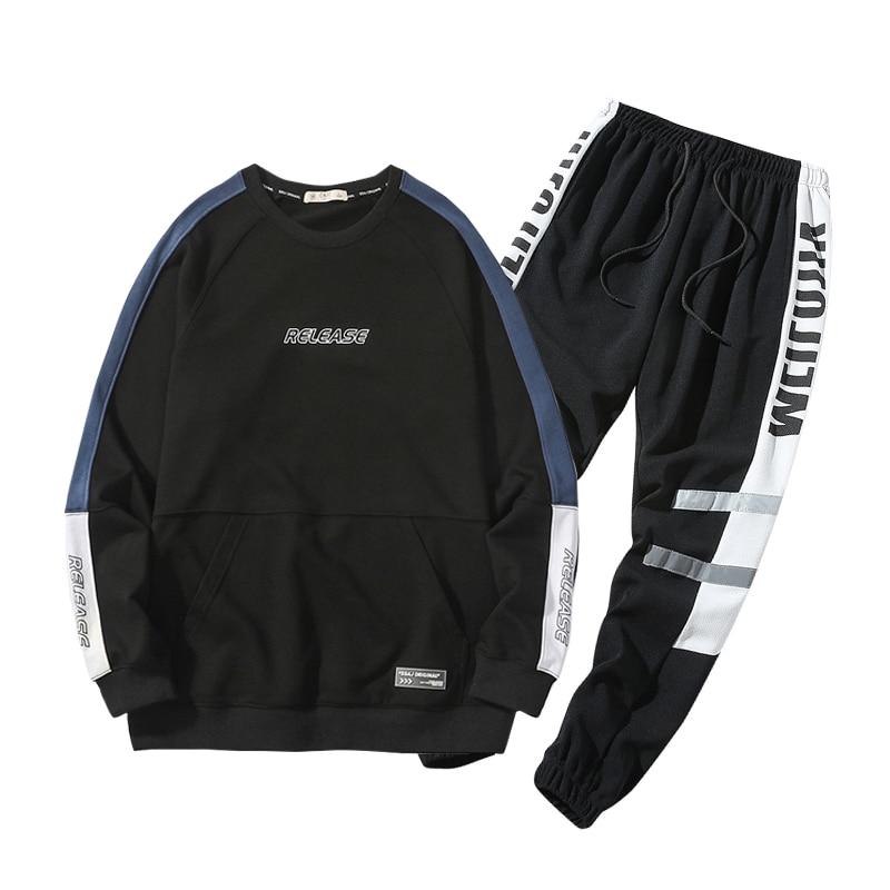 Men Brand New Cotton Sets Autumn Spring Casual Soft Sport Suit Jacket Men Sweatshirt Sweatpants 2 Pieces Sets Tracksuit Men 4XL-in Men's Sets from Men's Clothing