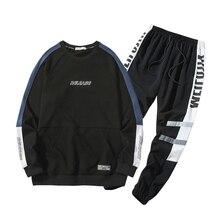 Nova marca de algodão conjuntos outono primavera casual macio esporte terno jaqueta masculino moletom 2 peças define agasalho masculino 4xl