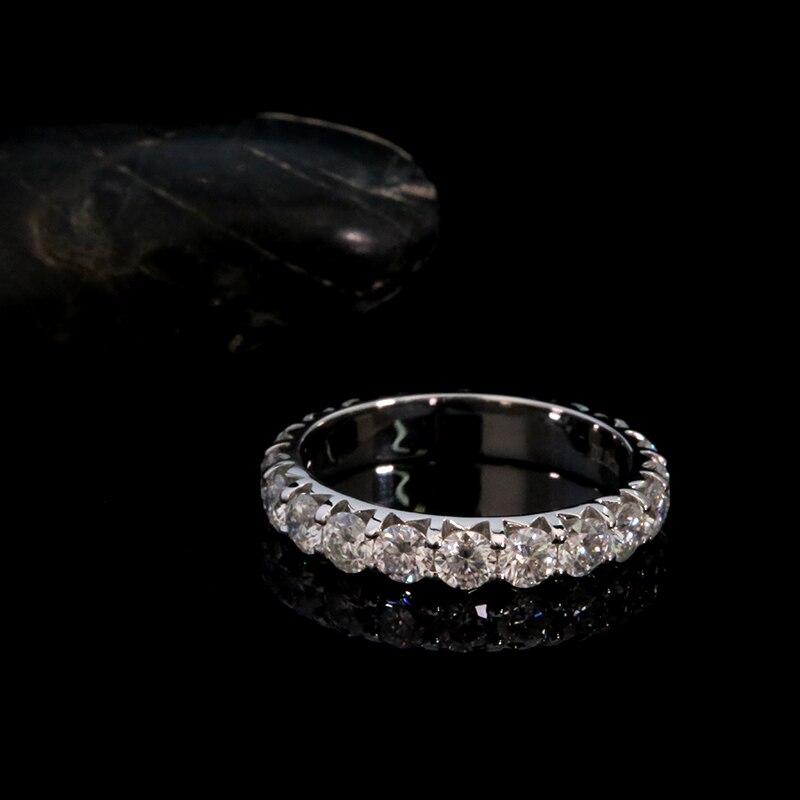 AEAW solide 14K or blanc rond coupe Moissanite enterité pleine bande de diamant 3mm 0.1ct 2.0ctw DF couleur pour les femmes