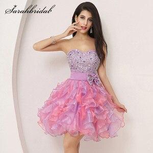 Image 1 - Babados coloridos mini vestidos de formatura puffy beading arco bonito cristal querida formal baile baile festa organza sd131
