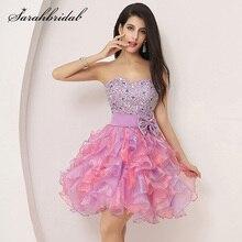 Mini vestidos de graduación con volantes coloridos, lazo con abalorios hinchados, bonito cristal encantador, vestido Formal de Fiesta de bienvenida, Organza SD131