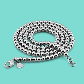 Unisex 925 sterling silver necklace retro style beads design more sizes chains solid charm jewelry